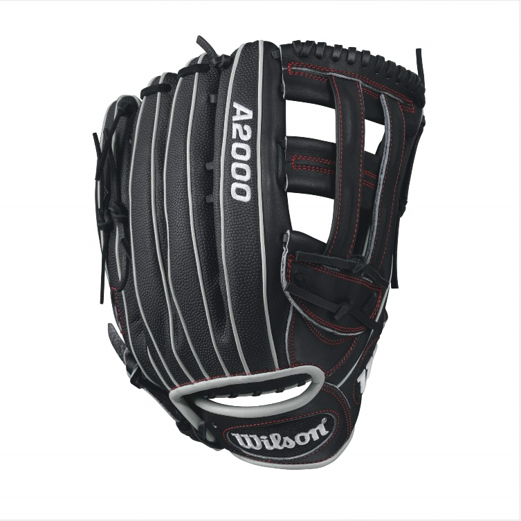 wilson-a2000-1799-superskin-baseball-glove-blackwhitered-12-75inch-right-hand-throw A20RB171799SS-RightHandThrow Wilson 887768499426 A2000 1799 SS - 12.75 Wilson A2000 1799 Super Skin Outfield