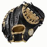 Catcher's model; half moon web Extended palm MLB most popular catcher's mitt pattern Blonde/Black Pro Stock leather for a long lasting glove and great break-in Drilex wrist lining to keep your hand cool and dry