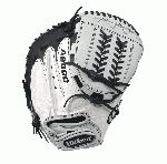 A2000 CM34 WS - 34 Wilson A2000 CM34 White Super Skin 34 Fastpitch Catcher's MittA2000 CM34 White Super Skin Fastpitch Catcher's Mitt - Right Hand ThrowWTA20RF17CMSS The black and white A2000 CM34 is constructed with Pro Stock Leather and Super Skin to create an amazingly light and durable mitt. This glove features an all new Horizontal Hinge Web that controls spin to keep the ball in the pocket so you can control home plate. A serious glove for a serious ballplayer. The fastpitch A2000 lineup is created with the Custom Fit System so that every fastpitch player can have a glove that fits her hand - no matter how tight she wears it. The superior feel and durability come from the premium Pro Stock leather that breaks in perfectly and lasts from one season to the next.34 Catcher ModelHorizontal Hinge WebD-Fusion pocket pad creates No Sting Catch ZoneFastpitch-specific modelPro Stock Leather combined with Super Skin for a light, long lasting glove and a great break-in catcherRHT 34 horizontal hinge webPro Stock Leather A2000 1790 SS Onyx FPCMA2000 M1 SSA2000 Glove Care Kit Aso-San Glove Mallet Wilson Fastpitch: Your Glove is Your Glove