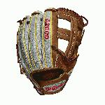 Game WTA20RB19DP15GM for Dustin pedroia; Cross web Grey SuperSkin with saddle tan and yellow gold Pro Stock leather, preferred for its rugged durability and unmatched feel Pedroia fit, made to function perfectly for players with smaller hands Narrow finger stalls Rolled dual welting for long-lasting shape and a quicker break-in