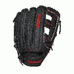 Wilson A2000 DW5 SS Baseball Glove 12 inch. The A2000 features Pro Stock Leather made from American Steerhide prized by pros for its rugged durability and unmatched feel. The Pro Stock leather along with the Pro stock pattern which is continuously improved by Wilson every year makes this glove a great ball players glove. The A2000 also features Dual-Welting which exposes the leather along each finger back, twice on each finger to provide the most druable pocket and loner lasting break in. The Dri-Lex Ultra-breathable, wrist lining trasnfers mositure from the skin keeping the players hand dry and cool during use. This model has a dual post web. It is made with black pro stock leather and red embroidery mixed with SuperSkin.