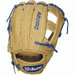 The A2000 EL3 GM was developed by Master Craftsman Aso-San for third baseman Evan Longoria.  The D-shaped deep pocket in this Game Model Glove is perfect for the hot corner. Designed by Evan, the Wilson A2000® EL3 GM features Blonde Pro Stock™ leather with royal blue logos and lacing. Experience a glove with unbeatable performance that was designed for the pros and for you.  The most famous baseball glove, the Wilson A2000, just keeps getting better. Wilson Glove Master Craftsman, Shigeaki Aso, constantly refines the Pro Stock patterns with the insights of hundreds of MLB players every season. Made with Pro Stock leather, the A2000 baseball glove is built to break in perfectly and last for multiple seasons. It's the perfect ball glove for hard working players. Throwing hand: RIGHT glove size: 11.75 inch. 11.75 inch. Infield Model. Evan Longoria's Game Model Glove Cross Web. Pro Stock Leather for a long lasting glove and a great break-in. Dual Welting™ for a durable pocket. DriLex Wrist Lining to keep your hand cool and dry.