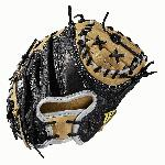 Catcher's model; half moon web Extended palm Black SuperSkin, twice as strong as regular leather, but half the weight Blonde/White Pro Stock leather for a long lasting glove and a great break-in Drilex wrist lining to keep your hand cool and dry