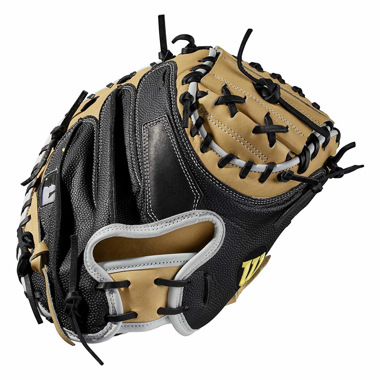 wilson-a2000-m1-ss-catchers-mitt-33-5-right-hand-throw-2019 WTA20RB19M1SS-RightHandThrow Wilson 887768702045 Catchers model; half moon web Extended palm Black SuperSkin twice as