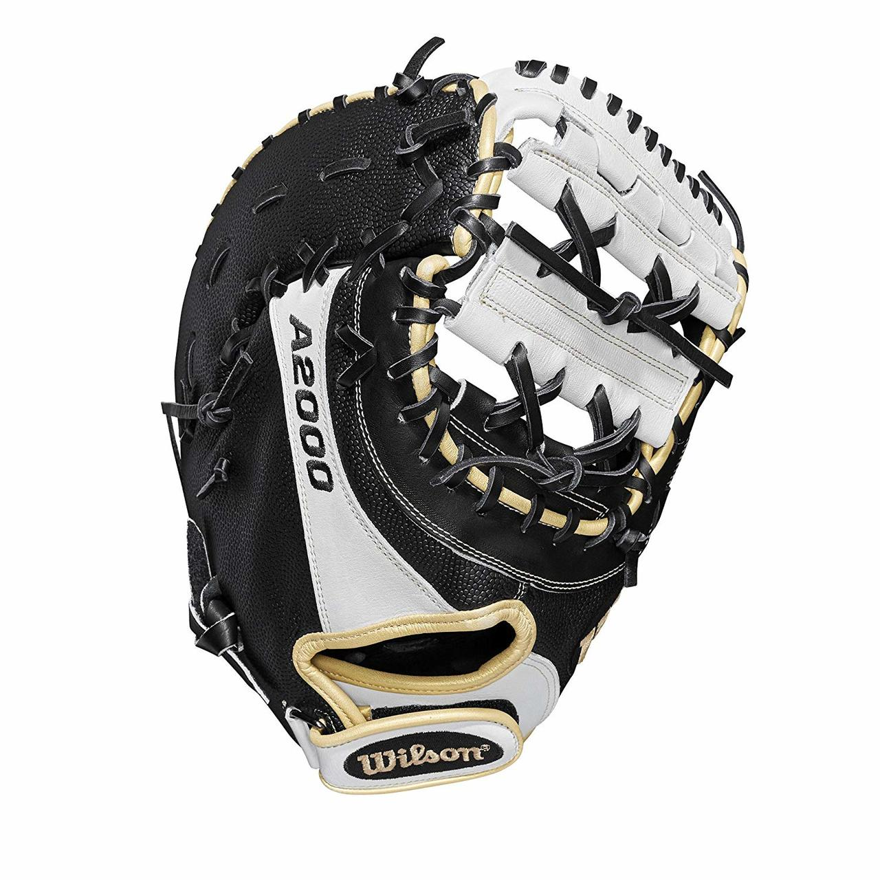 First base model; double horizontal bars web Comfort Velcro wrist closure for a secure and comfortable fit Honeycomb cell padding creates no sting catch zone Black SuperSkin, twice as strong as regular leather, but half the weight Pro Stock leather for a long lasting glove and a great break-in and dual welting for a durable pocket
