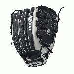 A2000 V125 SS - 12.5 Wilson A2000 V125 Super Skin 12.5 Outfield Fastpitch GloveA2000 V125 12.5 Outfield Fastpitch Glove - Right Hand Throw A2000 V125 12.5 Outfield Fastpitch Glove - Left Hand Throw WTA20RF17V125SS WTA20LF17V125SS Master the outfield with the 12.5 Wilson A2000 V125 SS glove. This black and white outfield softball glove is long enough to give you the reach you need, and the Victory Web creates a solid and deep pocket. Glove-lightening Super Skin is used strategically so your glove won't weigh you down.A serious glove for a serious ballplayer. The fastpitch A2000 lineup is created with the Custom Fit System so that every fastpitch player can have a glove that fits her hand - no matter how tight she wears it. The superior feel and durability come from the premium Pro Stock leather that breaks in perfectly and lasts from one season to the next.12.5 Outfield ModelVictoryWebFastpitch-specific model Comfort Velcro Wrist Closure for a secure and comfortable fitD-Fusion pocket pad creates No Sting Catch ZonePro Stock Leather combined with Super Skin for a light, long lasting glove and a great break-inDual Welting for a durable pocketAvailable in right hand throw and left hand throwOutfield both12.5 victory web Pro Stock Leather A2000 FP1275 SS Onyx FP 1275 Onyx FPV125A2000 Glove Care Kit Aso-San Glove Mallet Wilson Fastpitch: Your Glove is Your Glove