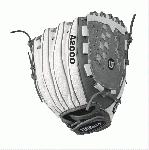 A2000 V125 WS - 12.5 Wilson A2000 V125 White Super Skin 12.5 Outfield Fastpitch GloveA2000 V125 White Super Skin Outfield Fastpitch Glove - Right Hand Throw A2000 V125 White Super Skin Outfield Fastpitch Glove WTA20RF17V125WS WTA20LF17V125WS Master the outfield with the 12.5 Wilson A2000 V125 WS. This white Super Skin and gray outfield softball glove is long enough to give you the reach you need, and the Victory Web creates a solid and deep pocket. Glove-lightening Super Skin is used strategically so your glove won't weigh you down.A serious glove for a serious ballplayer. The fastpitch A2000 lineup is created with the Custom Fit System so that every fastpitch player can have a glove that fits her hand - no matter how tight she wears it. The superior feel and durability come from the premium Pro Stock leather that breaks in perfectly and lasts from one season to the next.12 Outfield ModelVictoryWebFastpitch-specific model Comfort Velcro Wrist Closure for a secure and comfortable fitD-Fusion pocket pad creates No Sting Catch ZonePro Stock Leather combined with White Super Skin for a light, long lasting glove and a great break-inDual Welting for a durable pocketAvailable in right hand throw and left hand throwOutfield Both12 Victory web Pro Stock Leather A2000 FP125 A2000 FP12 A2000 FP12SS A2000 Glove Care Kit Aso-San Glove Mallet Wilson Fastpitch: Your Glove is Your Glove
