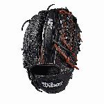 Pitcher model; closed Pro laced web; available in right- and left-hand Throw Black SuperSkin, twice as strong as regular leather, but half the weight Black Pro Stock Select leather, chosen for its consistency and flawlessness Rolled dual welting for long-lasting shape and quicker break-in Double palm construction, providing maximum pocket stability and 3x more shaping to help reduce break-in time.