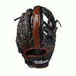 Infield model; H-Web Black SuperSkin, twice as strong as regular leather, but half the weight Copper and White Pro Stock Select leather, chosen for its consistency and flawlessness Rolled dual welting for long-lasting shape and quicker break-in Double palm construction, providing maximum pocket stability and 3x more shaping to help reduce break-in time