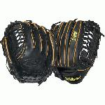 Wilson A2K BB4 CJW Pitcher Baseball Glove Black Tan 12 in (Right Handed Throw) : The Wilson A2K is Wilson's most premium glove model. The top 5% of Pro Stock hides are triple sorted for consistency and flawlessness, resulting in the softest and most durable leather Wilson has. All of the meticulously designed A2K features work together to provide the same core benefit, a truly long lasting glove that breaks in faster than ever. Gain an edge over the competition with the A2K CJW a glove designed by glove master craftsman Aso-san and C.J. Wilson. This glove features a pro laced T Web to provide a deep pocket and maximum grip concealment while keeping the glove lighter than a traditional closed web model.