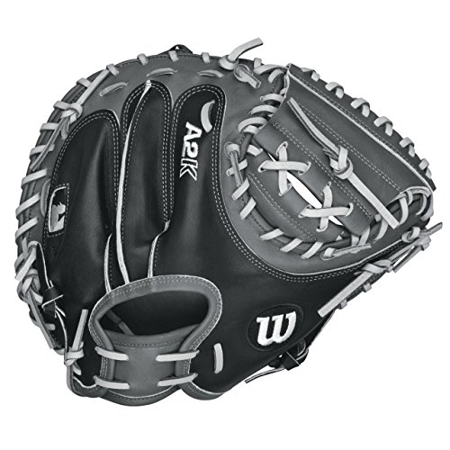 Wilson A2K Catchers Mitt Pudge 32.5 inch. The Wilson 32.5 Inch A2K 1791 Catchers Mitt features an extended palm to reduce rebound and a wider web and stiffer thumb.  The Dri-Lex wrist lining helps move moisture away from your skin to keep you cool and comfortable through every inning. The 1791 is the most popular MLB catcher's mitt pattern from Wilson. The A2K is the most premium baseball glove available from Wilson, and it all starts with the leather. Pro Stock™ Leather is triple sorted to identify the most flawless pieces, resulting in the softest and most durable ball glove leather. Pro Stock™ Select Leather combined with patterns built over decades of work with the top MLB® catchers - from Tony Peña to AJ Ellis - make for the most popular mitts in the league.  New this season, the laces in the pocket are covered with a reinforcing piece of leather to minimize wear and break down. 32.5 inch Catcher's Model. Half Moon Web. Extended Palm. Reinforced Dual Web Post Pattern. Pro Stock Select Leather. 2X Palm Construction provides maximum pocket stability. Rolled Dual-Welting for quicker break in. 3X more craftsman shaping at the factory means your glove is pounded and shaped by a master technician at the factory, reducing break in time for you.