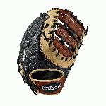 First base model; double horizontal bar web; available in right- and left-hand Throw Black SuperSkin, twice as strong as regular leather, but half the weight Copper and black Pro Stock Select leather, chosen for its consistency and flawlessness Rolled dual welting for long-lasting shape and quicker break-in Double palm construction, providing maximum pocket stability and 3x more shaping to help reduce break-in time