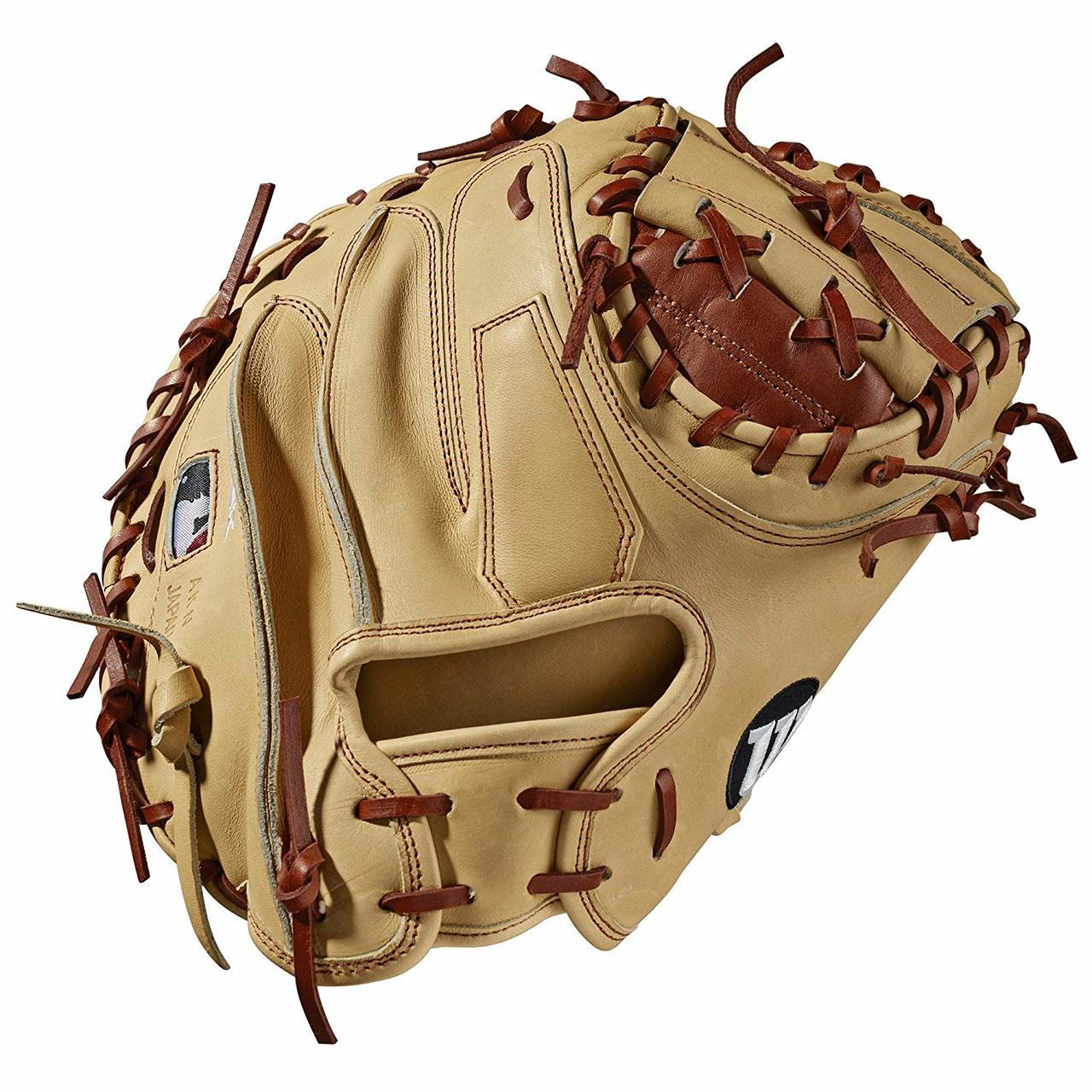 wilson-a2k-m1-catchers-mitt-2019-right-hand-throw-33-5 WTA2KRB19M1-RightHandThrow Wilson 887768721619 Catchers model; half moon web Copper and blonde Pro Stock Select