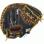 Wilson A2K Catcher Baseball Glove 32.5 A2K PUDGE-B Every A2K Glove is hand-selected from the top 5% of Wilson Pro Stock hides for the uniform thickness and density; delivers low-rebound performance, optimal weight, extended durability and unmatched pocket stability. Wilson A2K Features: 32.5 catcher's mitt Extended Palm Web Wrist Guard Pro-stock hand selected steerhide Excellent pocket stability Micro-Perf lining Dri-Lex ultra-breathable wrist lining The finest cuts of leather. Meticulous construction. Three times more hand shaping by Wilson master technicians. All these qualities make the A2K® our premier glove. The one players turn to when they want a long-lasting glove that breaks in without breaking down. Made from the top 5% of Pro Stock® Select leather, each hide is chosen for consistency and flawlessness, so the A2K baseball glove is the most premium glove available. PRO STOCK SELECT LEATHER: The top 5% of Pro Stock hides are chosen by a triple sorting process for consistency and flawlessness. The 2016 A2Ks are Jet Black, Blonde and Dark Brown. ROLLED DUAL WELTING Thin strips of Pro Stock leather are skived thin and rolled to provide long-lasting shape and a quicker break in. DOUBLE PALM CONSTRUCTION: A thin, strategically cut piece of leather is placed between the palm liner and outer shell, providing maximum pocket stability. 3X MORE SHAPING: A master technician spends three times longer pounding and shaping the A2K by hand, which reduces break-in time. ½ Moon Web