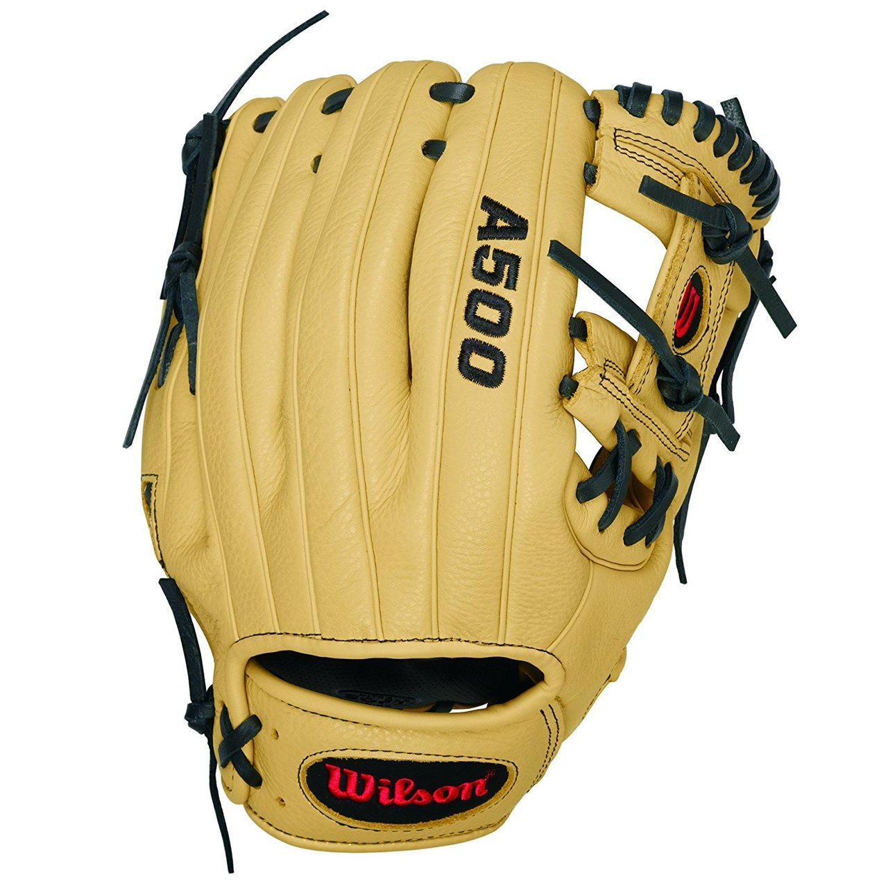 A500 - 11 Wilson A500 1786 Baseball GloveA500 1786 11 Baseball Glove-Right Hand Throw A500 1786 11 Baseball Glove-Left Hand Throw WTA05RB1611WTA05LB1611Designed for youth players, the 11 A500 baseball glove model is a replica of the the blonde A2000 1786. It features an H-web, making it a great glove for utility players.The A500 is the lightest all-leather glove on the market. The glove's top-grain leather provides a flexible, ready-to-play feel that performs without the extra weight of other leather gloves. 11 H-Web Replica of A2000 1786Game-ready top grain leather shell provides all the feel without the wieght2x Palm Construction to reinforce the pocketDual WeltingTM for a durable pocketThe lighest all-leather glove on the marketUtilityBoth11 h-web Game Ready Top Grain LeatherA500 RC22 Showtime 11.5 Pedroia Fit Bandit 1786A1074 Wilson Players Video