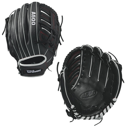 A500 - 12.5 Wilson A500 12.5 Baseball Glove A500 12.5 Baseball Glove - Right Hand Throw A500 12.5 Baseball Glove - Left Hand Throw WTA05RB17125 WTA05LB17125 Designed for youth players, the 12.5 A500 is the perfect glove for the young player who loves to do it all. It has a Single Post Web and is built as a replica of the 1799SS model -- the right model for the versatile player who sees time all over the diamond.The A500 is the lightest all-leather glove on the market. The glove's top-grain leather provides a flexible, ready-to-play feel that performs without the extra weight of other leather gloves. 12.5 Pro Laced T-Web Replica of the 1799 SS modelGame-ready top grain leather shell provides all the feel without the wieght2x Palm Construction to reinforce the pocketDual WeltingTM for a durable pocketThe lighest all-leather glove on the market UtilityBoth12.5 Single Post Web Game Ready Top Grain LeatherA500 12 Showtime 12.5 Bandit 12.5 A1074 Wilson Players Video