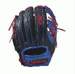Bandit 1786 - 11.5 Wilson Bandit 1786 Infield Baseball GloveBandit 1786 11.5 Infield Baseball Glove - Right Hand ThrowWTA12RB171786 The 1786 11.5 Bandit infield glove is made with black, red and blue Soft Full-Grain Steerhide leather, an H-web and is perfect for the young travel infielder. It comes with Pedroia Fit for a snugger feel that many infielders enjoy. Using some of Wilson's most popular color palettes, the Bandit is the glove for the young travel ballplayer who likes a little style to go along with his on-the-field substance. Its soft full-grain steerhide brings the perfect balance of minimal break-in and outstanding durability.11.5 Infield Model H-web Soft Full-Grain Steerhide LeatherInfieldRHT 11.5 H-Web Soft Full-Grain Steerhide Leather Bandit 1786 Pedroia Fit Bandit 1786 Pedroia FitA2000 T-ShirtGlove Care Kit Aso-San Glove Mallet Aso breaks in Brandon Phillips Glove