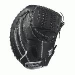 "Wilson Onyx Fastpitch Catcher's Mitt 33.00 A12RF1733 The Wilson Onyx Fastpitch Catcher's Mitt is designed to be ready on day one. The Wilson Onyx is constructed with Double Play leather for a quick break-in and an extended life. The Onyx also features rolled dual welting and double palm construction to help the glove maintain its shape and keep the ball in the glove. • 33.00"" catcher's pattern • FP C-laced web • Two piece back closure • Double palm construction • Double play leather • D-fusion pocket pad • Rolled dual welting Wilson Onyx Fastpitch Catcher's Mitt 33.00 A12RF1733"