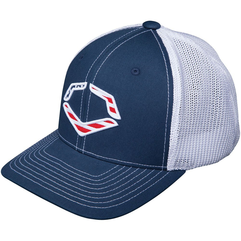 56% Polyester42% Cotton2% SPANDEX   Imported   Navy flex-fit style trucker hat   Evoshield logo with American flag backdrop on front   Breathable White mesh back   Pre-formed bill and flex fit band for ultimate comfort fit   Available in: s-m (7 - 7 14) and l-xl (7 38 - 7 58)