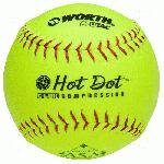 These 12 slowpitch softballs have red stitching and are approved for play in the ASA with a .52 COR/300 lb Compression. Worth Hot Dot softballs are designed to give players consistent hit distance at all temperatures, especially true in hot weather conditions. Added to these softballs is the C-LOK adhesive and moisture barrier and then the ProTac synthetic leather cover.