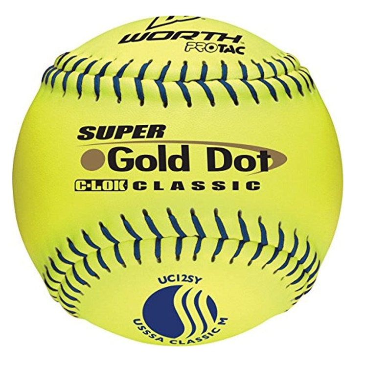 worth-super-gold-dot-classic-m-12-inch-slowpitch-softballs-1-dozen UC12SY-DOZ   <span>Worths 12 Classic M softballs have blue stitching and are approved