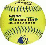 11 Inch Slowpitch Softball USSSA Classic W Classification Poly-X Core Pro Tac Cover Blue Stitch Color 11 inch optic yellow ball Super Green Dot Classic ball.