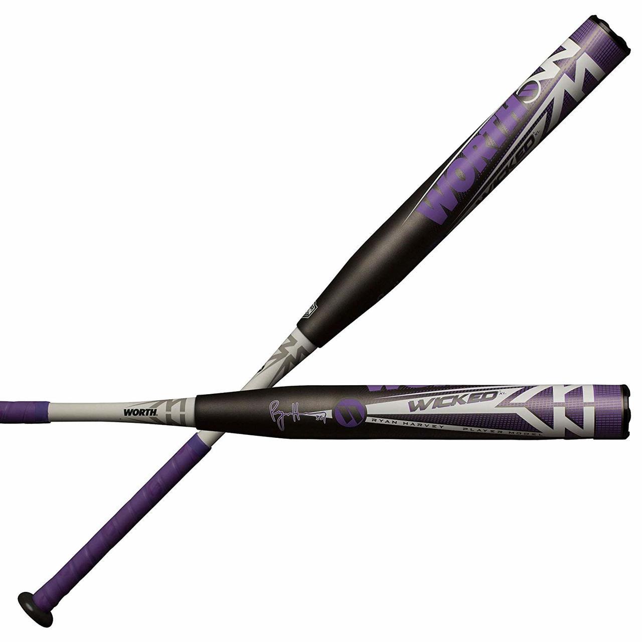 worth-wicked-xl-ryan-harvey-asa-wkrhma-slowpitch-softball-bat-34-inch-27-oz WKRHMA-3-27  658925041143 2 1/4 Inch Barrel Diameter 3-Piece Composite XL Weighting Approved for
